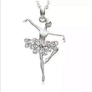 Jewelry - Clear Rhinestone & Silver Ballerina Necklace